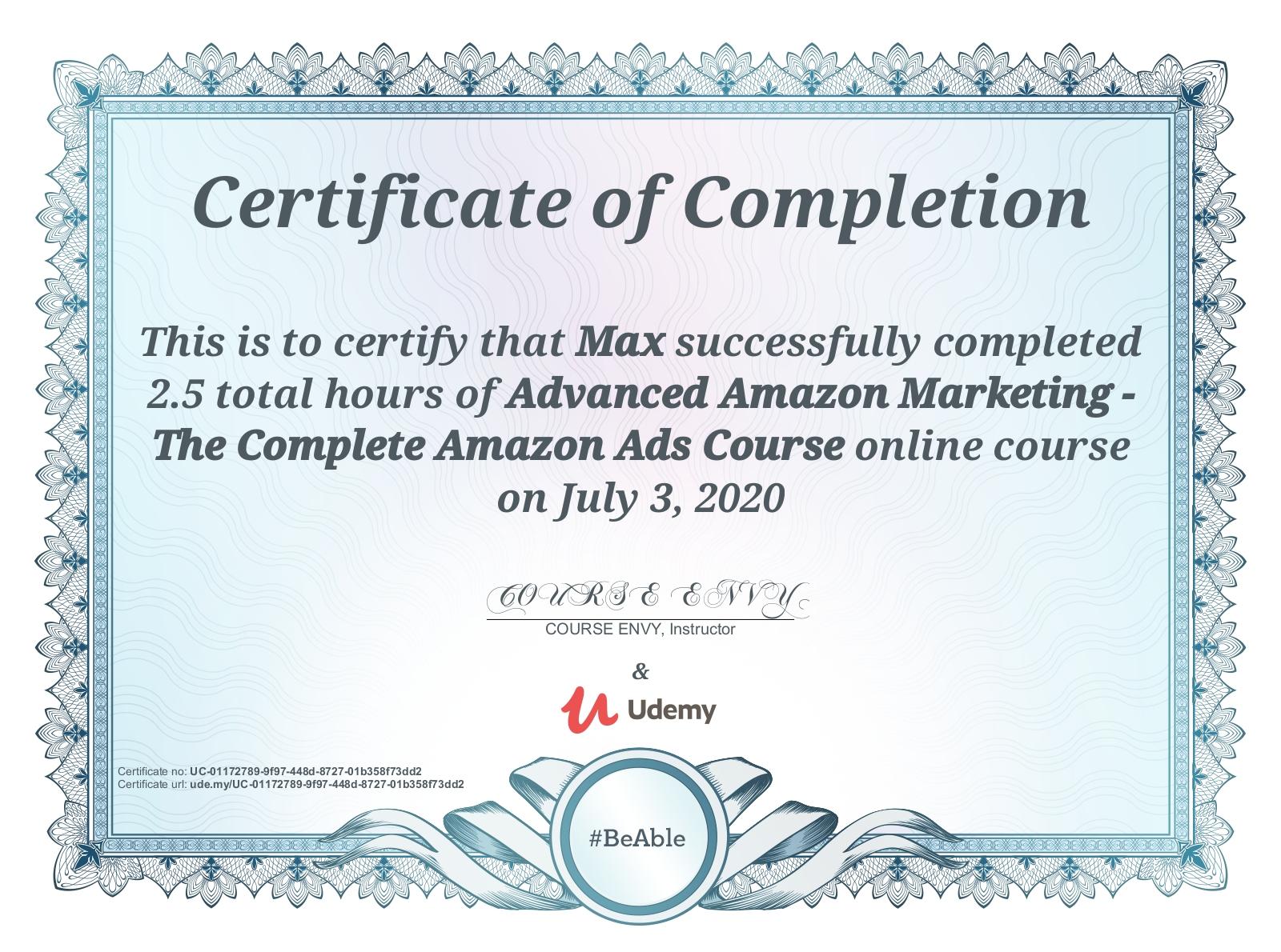Amazon Marketing Zertifikat