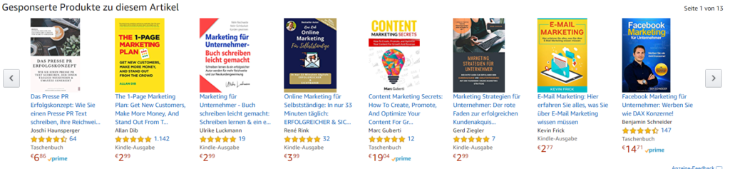 Beispiel gesponserte Werbeanzeigen Amazon KDP