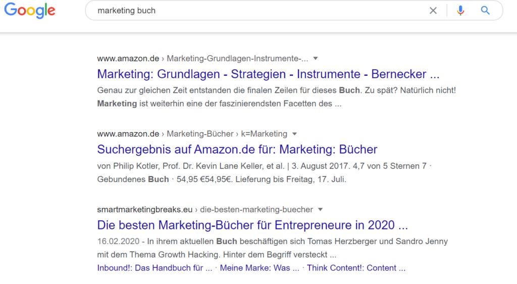 """Google Suchergebnisse für """"Marketing Buch""""."""